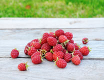 Raspberries on rustic wooden table outdoors. Raspberries on rustic wooden background outdoors, gardening and healthy food concept Stock Image