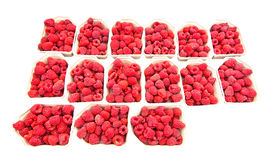 Raspberries for sale. Fresh red  isolated on white Royalty Free Stock Photos