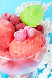 Raspberries sorbet, close up. Royalty Free Stock Photo