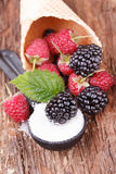 Raspberries in a spoon with Sugar. Waffles with fresh berry fruits Stock Image