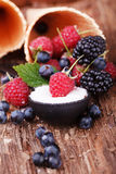 Raspberries in a spoon with Sugar. Waffles with fresh berry fruits Royalty Free Stock Photos