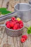 Raspberries in strainer. Ripe raspberries in steel strainer Stock Photo