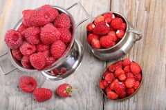 Raspberries and strawberries. Stock Photography