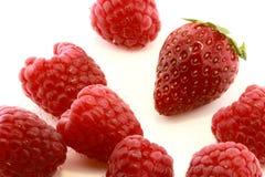 Raspberries and strawberry Stock Photo