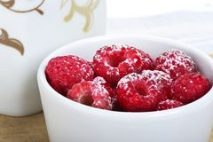Raspberries with sugar Stock Photo