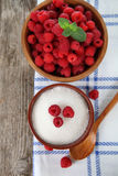 Raspberries and sugar. Royalty Free Stock Images