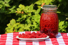 Raspberries and syrup. Raspberries and raspberry sirup in a glass jar on a red checkered tablecloth Royalty Free Stock Images