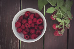 Raspberries. On a table. fresh and delicious Royalty Free Stock Images