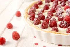 Raspberries on the tart Stock Image