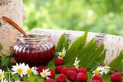 raspberries Um frasco aberto com doce e framboesas entre gramas da floresta Foto de Stock Royalty Free