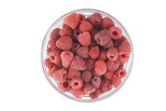 Raspberries. View from the top. Stock Photo
