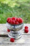 Raspberries in vintage silver goblet Stock Photos