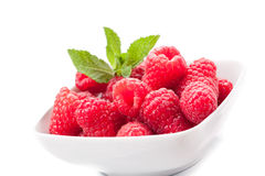 Raspberries on white background Royalty Free Stock Images