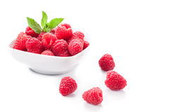 Raspberries on white background Royalty Free Stock Photo