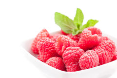 Raspberries on white background Royalty Free Stock Photography