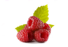 Raspberries on the white background Stock Photo