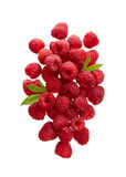 Raspberries on White Background. Fresh Raspberries With Leaves on White Background Royalty Free Stock Photos