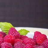 Raspberries in a white bowl Royalty Free Stock Photography