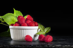 Raspberries White Bowl Royalty Free Stock Image