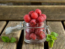 Raspberries in a white jug with mint. Raspberries in a jug with mint leaves stock photos