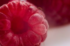 Raspberries on a white saucer close up, macro photo. Big fresh juicy raspberries on a white saucer close up, macro photo, selected focus Stock Photography