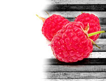 Raspberries on Wood Background Stock Photography