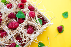 Raspberries in a wood box Royalty Free Stock Photos
