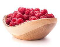 Raspberries in wooden bowl Stock Photography