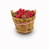 Raspberries in a wooden bucket on white background Royalty Free Stock Photography