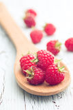 Raspberries on wooden spoon. The raspberries on wooden spoon Royalty Free Stock Images
