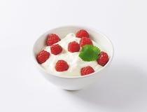 Raspberries in yoghurt. Bowl of raspberries in yoghurt on white background Stock Photography