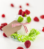 Raspberries and yoghurt or clotted cream Stock Image