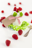 Raspberries and yoghurt or clotted cream Stock Photos