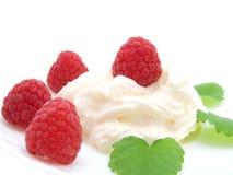 Raspberries with yogurt Stock Photography