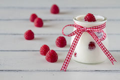 Raspberries and yogurt Royalty Free Stock Photo