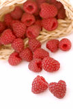 Raspberry. Fresh raspberry in and outside of a basket Stock Image