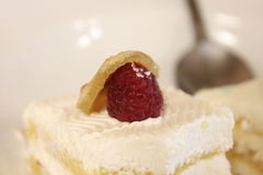 Raspberry. Close up of raspberry cake with spoon in the background Stock Image