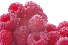 Raspberry. Fresh raspberries covered in water bubbles Royalty Free Stock Photo