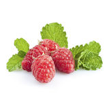Raspberry. Fresh raspberries and mint leaves isolated on white stock photo
