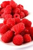 Raspberry. Very fresh and sweet raspberries on white plate stock image