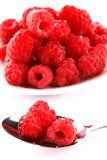 Raspberry. Very fresh and sweet raspberry on white plate stock photos