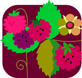 Raspberry And Flowers With Colorful Background Stock Photo