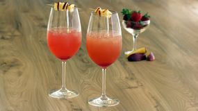Raspberry and apple quencher. Is a simple and elegant drink. This is a easy and quick drink with raspberry flavour Stock Photography