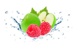 Raspberry and apple splash. Water isolated on white Stock Image