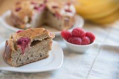 Raspberry Banana Cake. On a table Stock Image