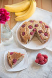 Raspberry Banana Cake. On a table Royalty Free Stock Images
