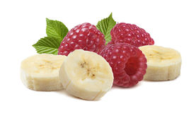 Raspberry banana pieces isolated on white background. As package design element Stock Photos