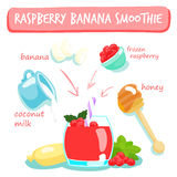 Raspberry banana smoothies  Stock Photo