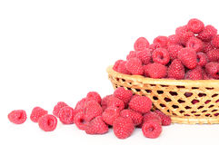 Raspberry, a basket. A basket full of ripe raspberry stock image