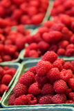 Raspberry basket pyramids at a food market Stock Images